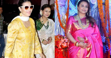 Rani Mukherjee serve food during Durga Puja festivities